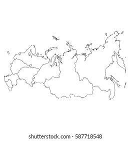 High detailed vector map with counties/regions/states - Russia