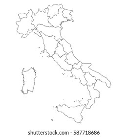 High detailed vector map with counties/regions/states - Italy