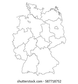 High detailed vector map with counties/regions/states - Germany