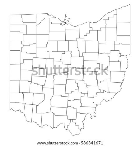 High Detailed Vector Map Countiesregionsstates Ohio Stock Vector