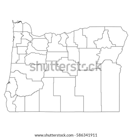 High Detailed Vector Map Countiesregionsstates Oregon Stock Vector