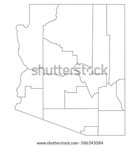 Map Of Arizona Regions.High Detailed Vector Map Countiesregionsstates Arizona Stock Vector