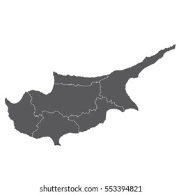 High detailed vector map - Cyprus
