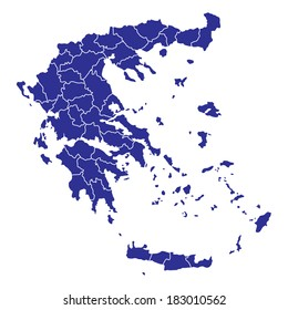 High detailed vector map Greece with regions