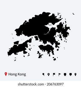 High detailed vector map of Hong Kong with navigation pins.