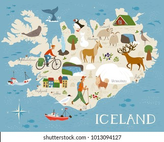 High detailed vector map of Iceland with animals and landscapes. Good as an poster, wall decor or as a print on souvenirs, bags and cards.  Animals of north.