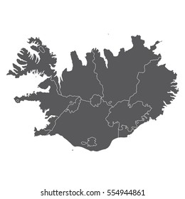 High detailed vector map - Iceland