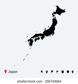 High detailed vector map of Japan with navigation pins.