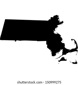 High detailed vector map - Massachusetts
