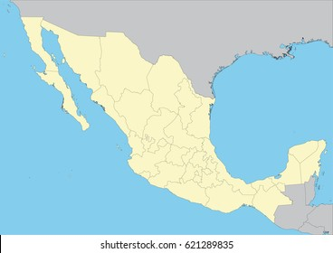 High detailed vector map of Mexico with states. File easy to edit and apply. Elements of this image furnished by NASA