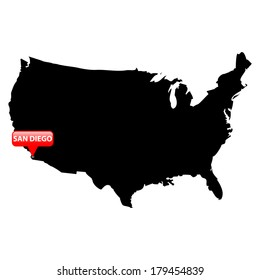 High detailed vector map over United States with the main cities in red bubble - San Diego