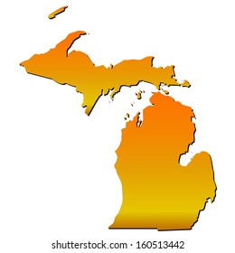 High detailed vector map with shadow in separated layer - Michigan