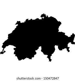 High detailed vector map - Switzerland