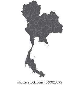 High detailed vector map - Thailand