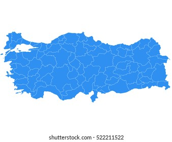 High detailed vector map - Turkey