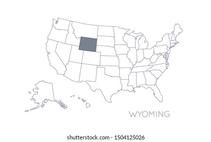 High detailed vector map - United States of America. Map with state boundaries. Wyoming vector map silhouette