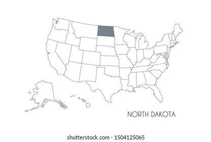 High detailed vector map - United States of America. Map with state boundaries. North Dakota vector map silhouette