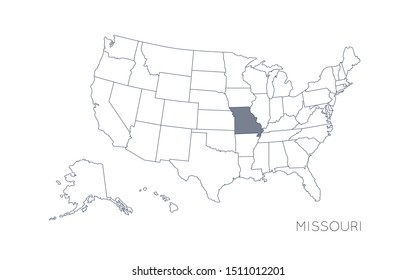 High detailed vector map - United States of America. Map with state boundaries. Missouri vector map silhouette
