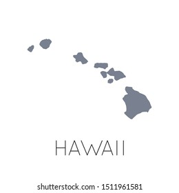 High detailed vector map - United States of America. Map with state boundaries. Hawaii vector map silhouette