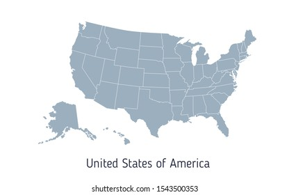 High detailed vector map - United States of America. Map with state boundaries. Blank gray contour isolated on white background. Vector illustration.