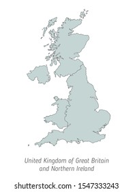High detailed vector map - United Kingdom of Great Britain and Northern Ireland. Silhouette isolated on white background. Vector illustration