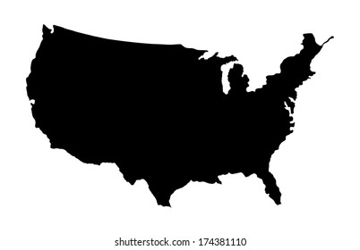 High detailed vector map - United States, black silhouette isolated on white background.