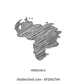 high detailed vector map. venezuela  map Line black