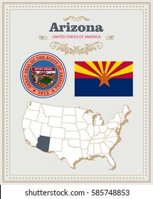 High detailed vector set with flag, coat of arms, map of Arizona. American poster. Greeting card from United States of America. Colorful design