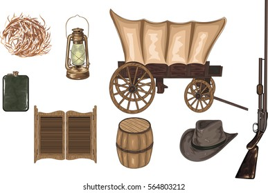 High Detailed Western Icons - Vector