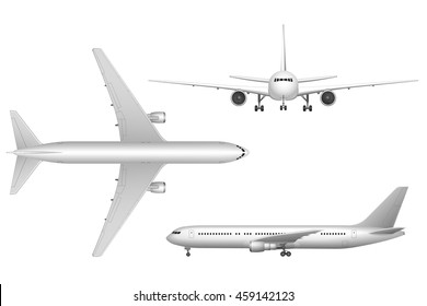 High detailed white airplane on a white background. Airplane in profile, from the front and top view isolated vector illustration Airline Concept Travel Passenger planes set.