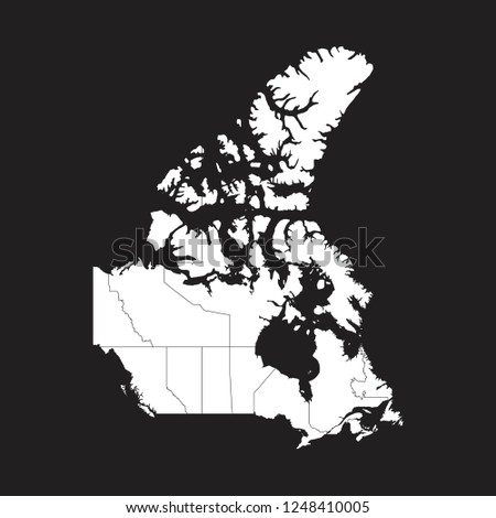 Map Of Canada Eps.High Detailed White Map Canada On Stock Vector Royalty Free