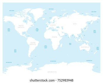 Oceanographical map world labels oceans seas stock vector 2018 high detailed world map with labels of main oceans seas gulfs bays gumiabroncs Image collections