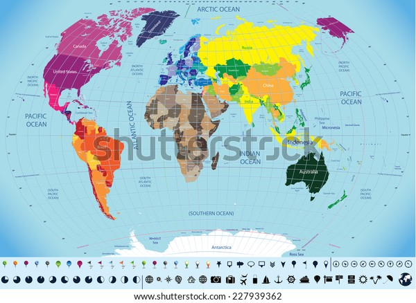 High Detailed World Map Time Zone Stock Vector (Royalty Free ...