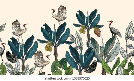 High End Seamless Border Hand Drawn Outlines Jugles Tropical Plants Exotic Wildlife Cranes on Banana Palms Summer Design Sloth