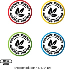 High fiber, Button, label and sign - Vector illustration