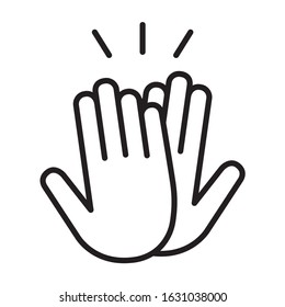 High five or high 5 hand gesture line art vector icon for apps and websites