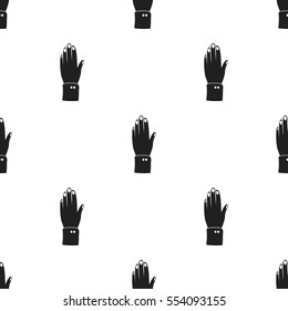High five icon in black style isolated on white background. Patriot day pattern stock vector illustration.