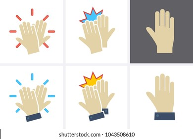 High Five Icon set. Vector flat hands celebrating with a high-five