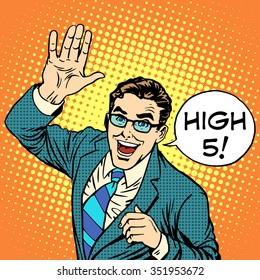 High five joyful businessman pop art retro style. Greeting and friendship. Positive service business concept. Communication