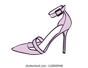 High heel shoe. Lavender, purple stiletto vector illustration isolated on white. Hand drawn design element. Feminine, shoe sketch for cards, scrapbooking, stationery, shower and more. Fashion, style.