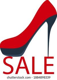 High Heel Shoe on Sale Symbol. Flaches Farbdesign. Vektorgrafik.