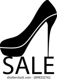 High Heel Shoe on Sale Symbol. Black Glyph Design. Vektorgrafik.