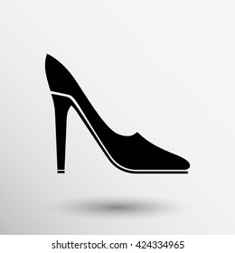 High heel shoes icon logo. Elegant silhouette. Women symbol. Fashion label. Female of shoe in square isolated.