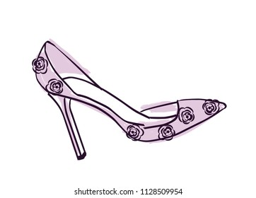High heel vector illustration isolated on white background. Hand drawn design element.