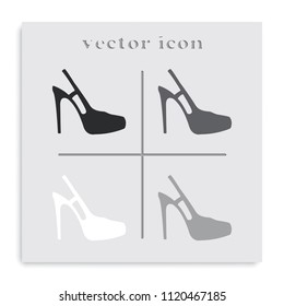 High heeled sandal flat black and white vector icon. Shoe illustration.
