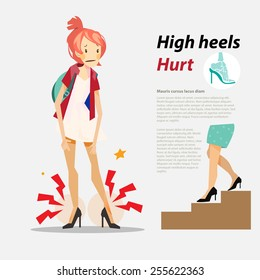 High heels hurt with infographic - vector illustration