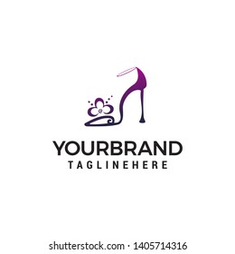 high heels logo design concept template vector
