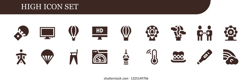 high icon set. 18 filled high icons.  Simple modern icons about  - Parachute, Monitor, Hot air balloon, Hd, Ferris wheel, Friendship, Wingsuit, Feeding chair, Speed, Fernsehturm berlin
