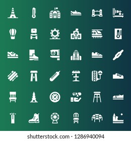 high icon set. Collection of 36 filled high icons included Cliff, Trampoline, Chair, Ferris wheel, Boot, Wire, Shoes, Stool, Graduation, Pressure, Eiffel tower, Thermometer, Skii