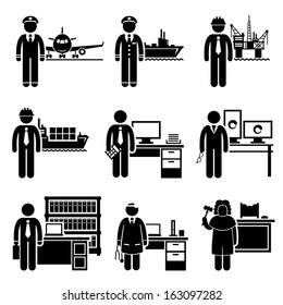 High Income Professional Jobs Occupations Careers - Air Pilot, Ship Captain, Oil Rig Engineer, Logistician, Chartered Accountant, Creative Director, Lawyer, Doctor, Judge - Stick Figure Pictogram